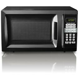 .7 Cuft Black Microwave Oven Digital Touchpad Led Timer Clock Display Child Safe