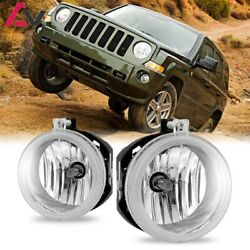 For Jeep Patriot 07-09 Clear Lens Pair Bumper Fog Light Lamp Replacement