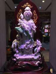Chinese Exquisite Hand-carved natural jadeite jade Guanyin statue with base