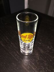 Hard Rock Cafe Tokyo Shot Glass 4 Tall Yellow Red Letter Logo Collectible