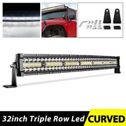 Tri-row 32 Inch 585w Curved Led Light Bar Spot Flood Truck Offroad 32 For Ford