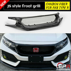 For 2017-19 Honda Civic Fk8 Typ R Carbon Js Style Front Grill Meshe Grille Kits