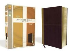 Kjv, Amplified, Parallel Bible, Large Print, Leathersoft, Tan/burgundy, Red New