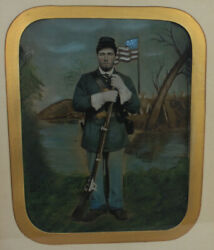 Civil War Soldier With Rifle. Full Plate Tinted Flag Rare
