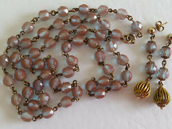 Antique Czech Rose Gold Filled Faceted Saphiret Glass Bead Necklace w. Earrings