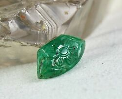 Natural Zambia Emerald Carved Fancy Cabochon 6 Carats Gemstone For Ring Pendant