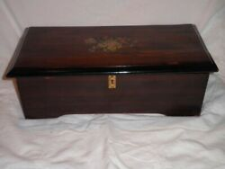 Antique 19thc Cylinder Swiss Music Box Inlaid Rosewood, C 1885 , 6 Airs