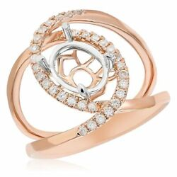 Wide .29ct Diamond 14k White And Rose Gold Oval And Round Semi Mount Engagement Ring