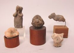 Fine Group Of 5 Pre-columbian Zoomorphic Art Pottery Figures  Ancient Animals