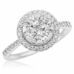 Estate .99ct Diamond 18kt White Gold Round Cluster Invisible Star Halo Love Ring