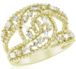 Wide .47ct Diamond 14k Yellow Gold Round And Baguette Multi Row Love Knot Fun Ring