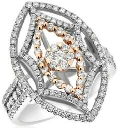 Estate Large 1.25ct Diamond 14kt White And Rose Gold Flower Marquise Star Fun Ring