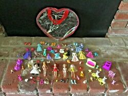 Lot Of Misc Mattel Polly Pocket Dolls Clothes Disney Gowns 82 Accessories 4 Doll