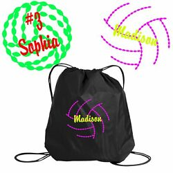 Personalized Volleyball 1&2 Sackpack Bag  Embroidered Colorblock Cinch Bag