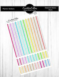 HW hours Color Hourly Planner Stickers Fits the Hobonichi Weeks $3.75
