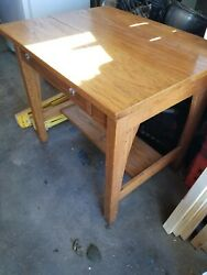 Antique Mission Oak Library Table Or Desk - Arts And Crafts