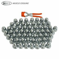 60 Pcs Chrome Abs Plastic Pointed Lug Nut Covers 33mm Flanged W/ Removal Tool