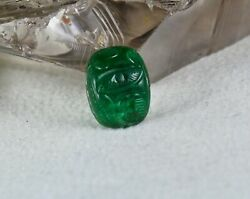 Natural Zambia Emerald Carved Cabochon 7.09 Carats Gemstone For Ring Pendant