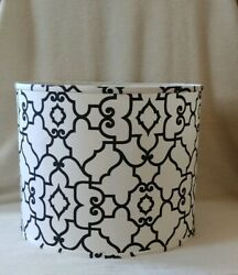 New Modern Large Ceiling Hanging Drum Lamp Shade Black And White Moroccan Pattern