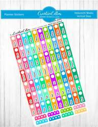 HW Vertical Days Planner Stickers Vertical Days Fits the Hobonichi Weeks $3.75