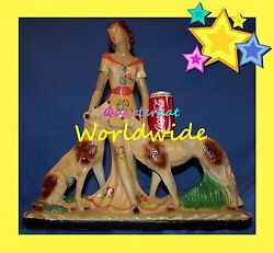 VINTAGE DECO CHALK WARE ORNAMENTS FIGURINES STATUES LARGE WOMAN BORZOI DOGS