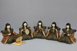 Japanese Antique Very Old Five Court Musician Dolls Edo Period 9