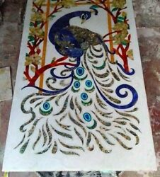 18x36 Peacock Design Marble Inlay Dining Table Top Room And Hallway Decor 2004