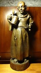 ✟ Large Antique Xl 31 Wooden Carved Beer Drinking Monk Friar Monastic Statue ✟