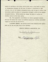MONTGOMERY CLIFT - CONTRACT SIGNED 10/07/1952