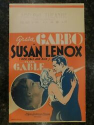 Susan Lenox Her Fall And Rise Original 1931 Window Card C8.5 Vf To Near Mint