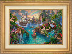 Thomas Kinkade Studios Peter Panand039s Never Land 18 X 27 Le S/n Canvas Framed