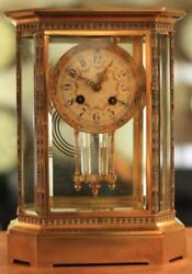 Rare Japy Freres 8 Glass Cloisonne Antique French Crystal Regulator Mantle Clock