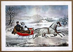 Currier And Ives The Winter Road  Vintage Original 1960 1st Ltd Ed Lithograph