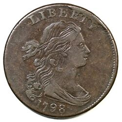 1798 S-173 R-3 Small 8, 2nd Hair Draped Bust Large Cent Coin 1c