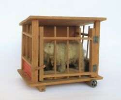 Antique 19th Century Wooden Wagon With Caged Bear Squeak Toy