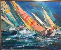 Kerry Hallam Rare & Early Original Oil Painting Of Sailboats On Canvas Signed