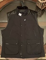 Black Label Gent's Size X Large Poly Oxford And Leather Moto Vest New