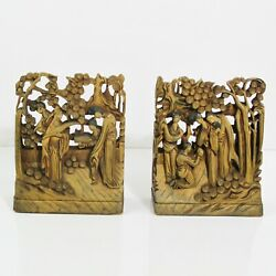 Antique Chinese Gilt Gold Geisha Under Trees Carved Wood Panel Book Ends 7-1/4