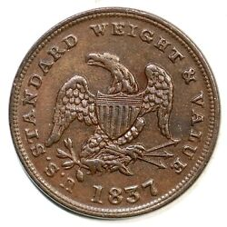 1837 Low-49 Ht-73 Half Cent Worth Of Copper Token Copper Coin 1/2c