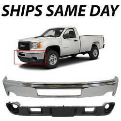 New Chrome Steel Front Bumper Face Bar Valace For 2011-2014 Gmc Sierra 2500 3500