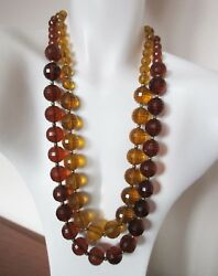 Vintage Two-tone Amber Colored Faceted Lucite Beaded Two-strand Necklace