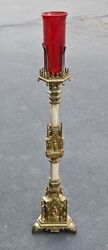 + Antique Brass Gothic Standing Sanctuary Lamp With Red Glass Globe + Cu834