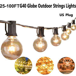 25 50 100 Foot Globe Patio Outdoor String Lights - Warm White G40 Clear Bulb