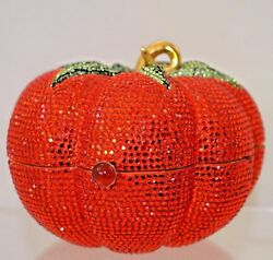 Yy Judith Leiber Summer Tomato Red Novelty Gold Minaudiere Evening Bag Vintage