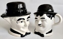 Pair Of Rare Collectible 1930s Laurel And Hardy English Glazed Pottery Teapots