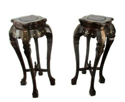 Pair Tall Carved Hard Wood Plant Bonsai Tables Pedestal  Inlay Mother of Pearl