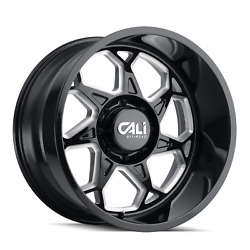 Four 4 20x10 Cali Off-road Sevenfold Et -25 Black Milled 8x165.1 Wheels Rim