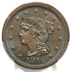 1846 N-3 R-2 Pcgs Ms 63 Bn Small Date Braided Hair Large Cent Coin 1c