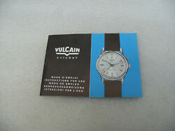 Vintage New Old Stock Vulcain Cricket Wristwatch Instructions