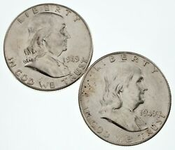 Lot Of 2 Franklin Half Dollars 1949 And 1949-s In Au Condition, Nice Luster